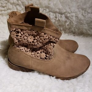 Faded Glory Faux Suede Booties w/ Crochet sides